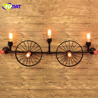FUMAT Industrial Vintage Wall Lamps Water Pipe Wall Sconce Indoor Lighting Bed Room Stair Light Iron Wall Sconce Hallway