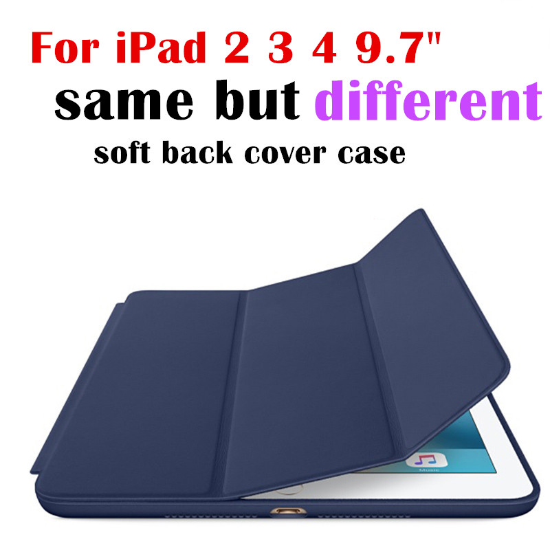 for ipad2 ipad3 ipad4 Flip Magnet Smart Cover For Apple iPad 2 3 4 9.7 tablet Case soft silicone tpu Protective Shell Bag surehin nice tpu silicone soft edge cover for apple ipad air 2 case leather sleeve transparent kids thin smart cover case skin