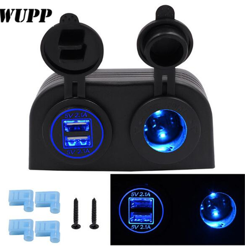 WUPP Car Motorcycle Dual 4.2A USB Charger + 12V/24V Cigarette Lighter Socket Two Hole Tent Type Panel For Boat Marine ATV RV