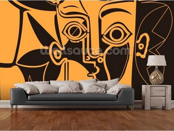 Muurschilderingen Voor Slaapkamer : Custom retro behang oranje picasso muurschilderingen voor