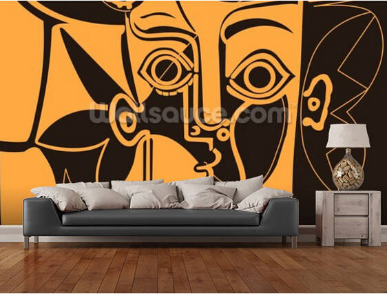 10 17 63 De Réduction Papier Peint Rétro Personnalisé Peintures Murales Orange Picasso Pour Chambre Salon Cuisine Fond Mural Mur étanche Pvc Papier
