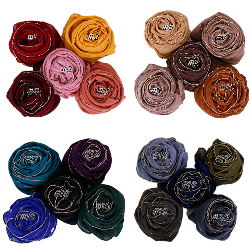 Gold chain hijab buble chiffon scarf shimmer shawls muslim plain scarves wraps cotton headband scarves 10pcs