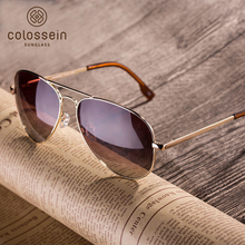 COLOSSEIN Polarized Sunglasses Brand Designer Classic Metal Sun Glasses For Women Men Brown Black Lens Fashion Style UV400