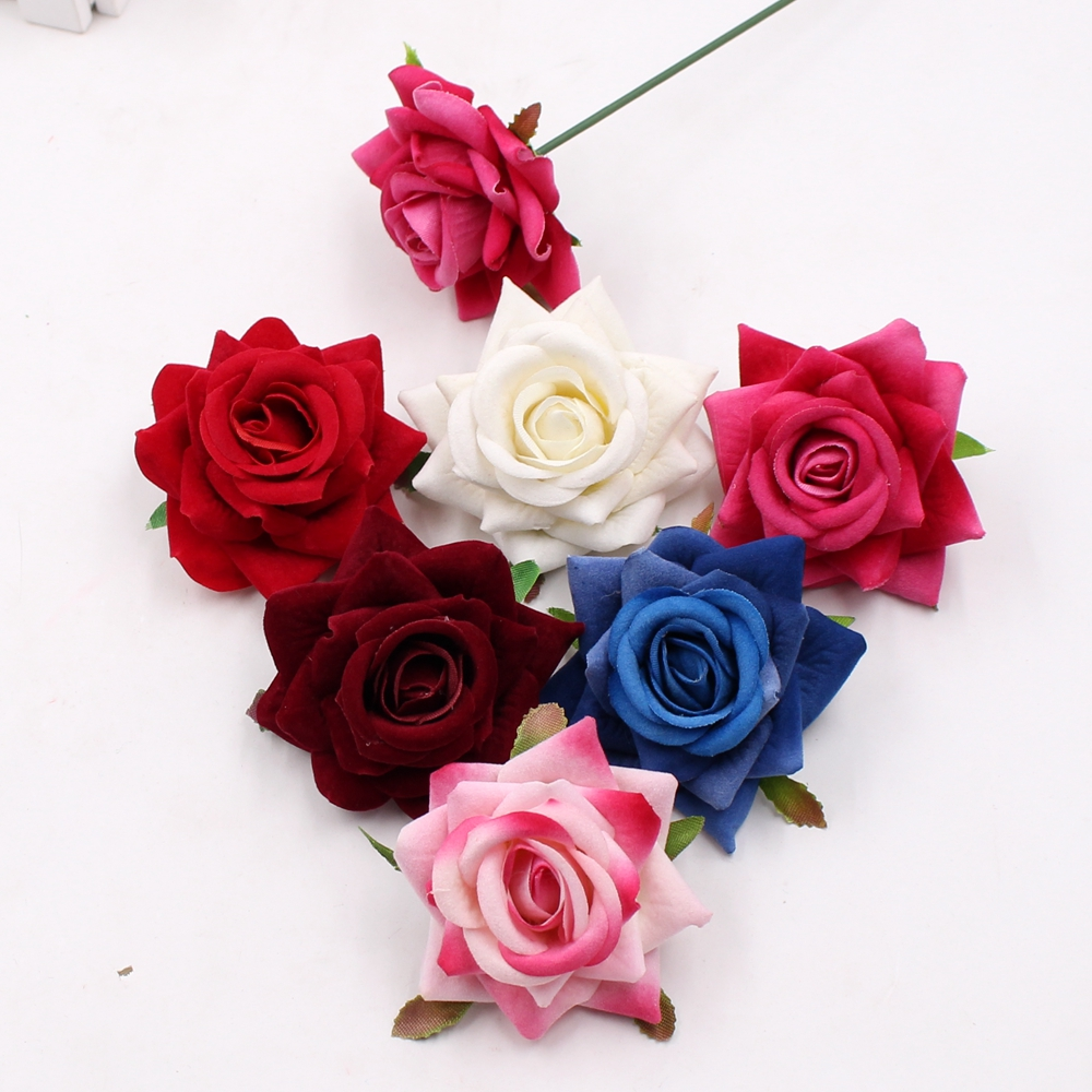 Hot Sale 5pcs 6cm High Quality Artificial Flower Silk Rose Flower