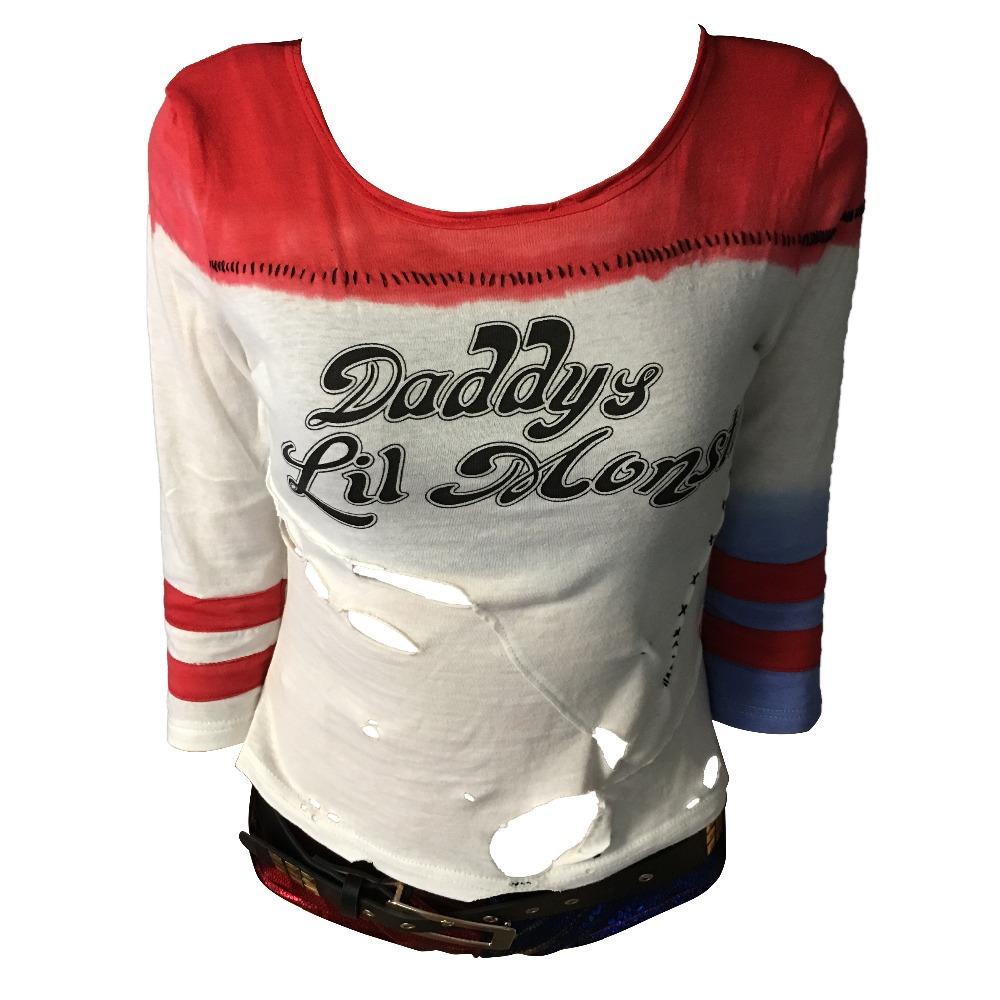 af68f0cd 2016 Movie Cosplay Suicide Squad Harley Quinn Costume T Shirt Daddy's Lil  Monster T-Shirt Cosplay Halloween Costume Tops Tee