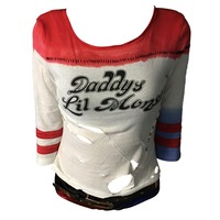 2016 Movie Cosplay Suicide Squad Harley Quinn Costume T Shirt Daddy's Lil Monster T Shirt Cosplay Halloween Costume Tops Tee