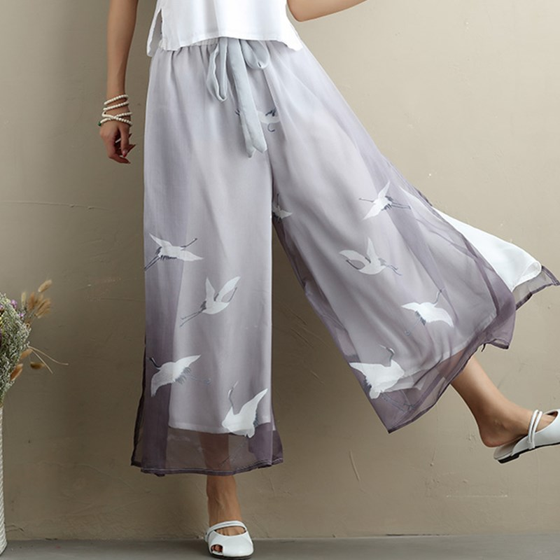 Women Thin Chiffon Casual   Pants   Print Ankle-Length   Wide     Leg     Pants   Chinese Style Loose Trousers