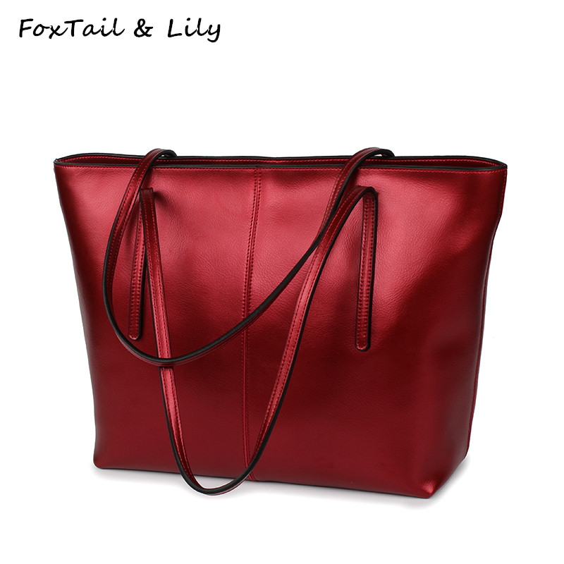 FoxTail & Lily Fashion Large Casual Tote Shoulder Bag Women Leather Handbags High Quality Elegant Ladies Genuine Leather Bags