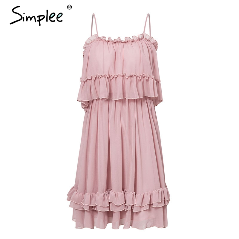 Simplee Elegant ruffle off shoulder women dress Spaghetti strap chiffon summer dresses Casual holiday female pink short sundress 14