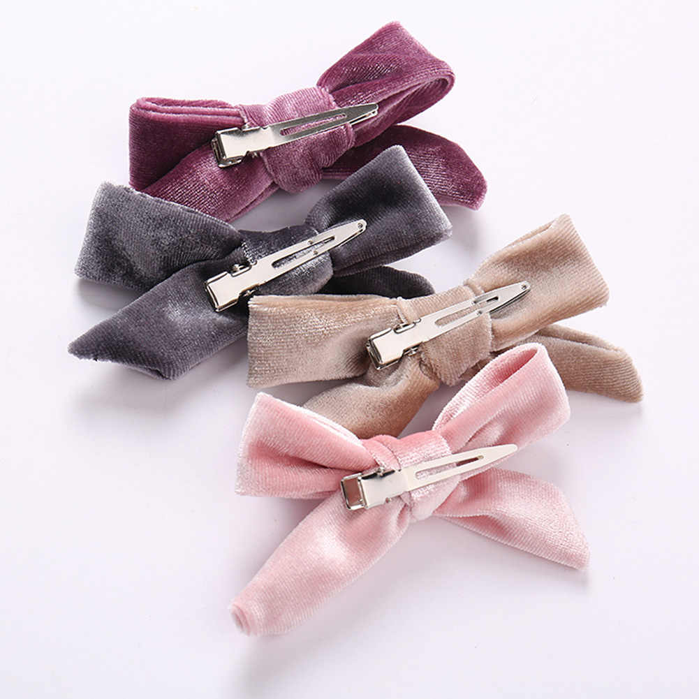 1pc Kids Velvet Bows Clip Hairpinss For Women Autumn and Winter Schoolgirls Hair Accessories Lovely Bow Hair Barrettes Hairpins