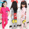 2014 Retail Children's Clothing sport suit children baby girl minnie mickey clothes long sleeve T shirt + pants set free ship