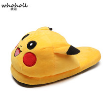 WHOHOLL Winter Cute Anime Cartoon Pokemon Slippers Women Warm Indoor Floor Home Slippers Plush Shoes Pikachu Fluffy Slippers стоимость