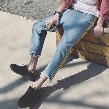 new summer brand Male Bottom Leg Broken Trouser Ankle-Length Blue men baggy Jeans ankle zipper hombre Haren Pants Man big size