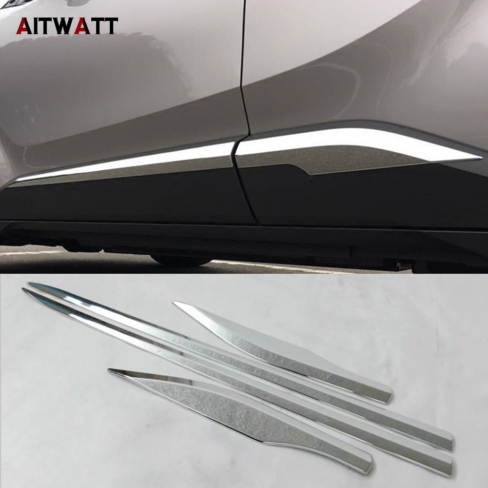 For Toyota C HR CHR 2018 2017 ABS Chrome Side Door Line Body Molding Strips Garnish Molding Cover Trims 4Pcs/set Car Accessories