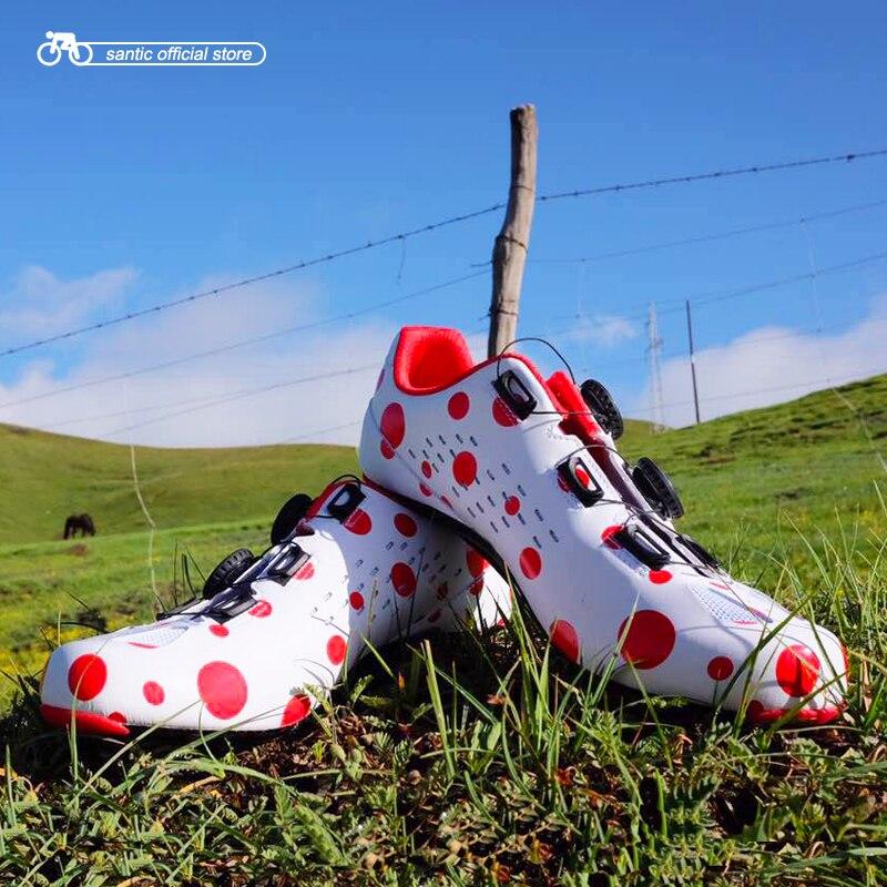 Homens Santic Ciclismo de Estrada Sapatos Red Dot Anular Alig 39-45 S12024W EUR TAMANHO De Fibra De Carbono Ultraleve Respirável