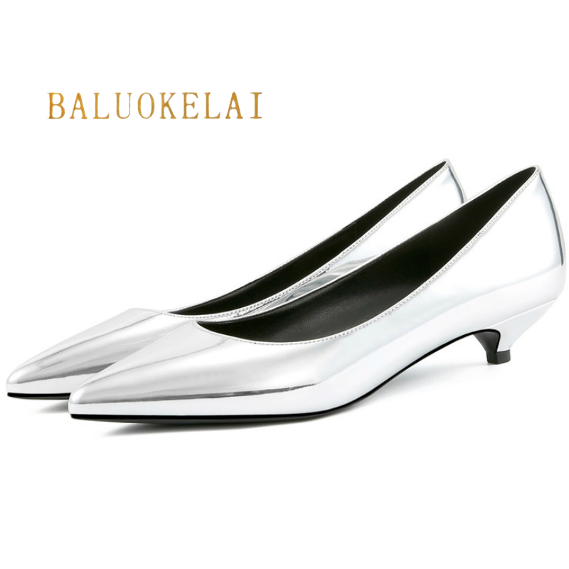 Silver Summer Women Shoes Pointed Toe Pumps Office Shoes 3CM Low Heels Patent PU Leather Boat Shoes Wedding Shoes,K-037 2018 fashion design see through silver glitter shoes pointed toe low heels lace mesh pumps wedding shoes
