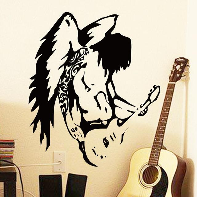 Art cheap home design vinyl decoration cool angel wall guitar stickers pvc home decoration music tattoo