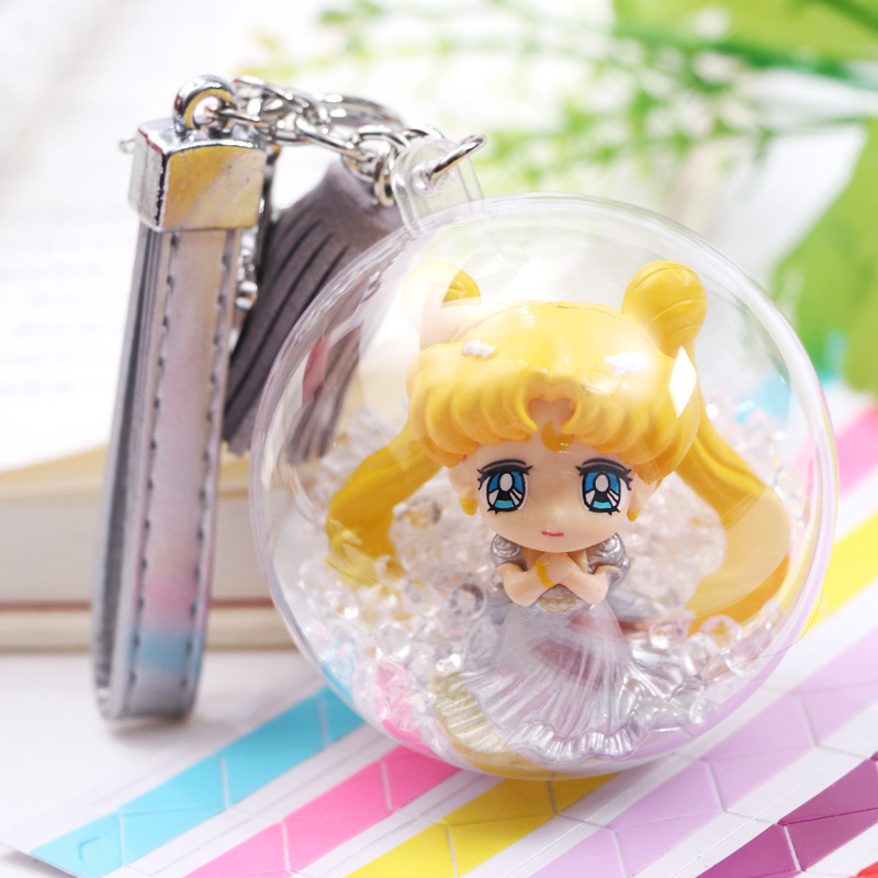 Kawaii Anime Sailor Moon PVC Figure Keychain Sailor Venus Jupiter Mercury Mars Saturn Neptune Uranus Pendants Action Figure Toys ...