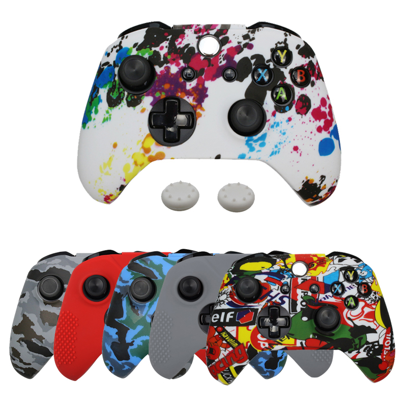Silicone Protective Skin Case For XBox One Slim Controller Protector Camouflage Gamepad Cover With 2 Free Grips Caps