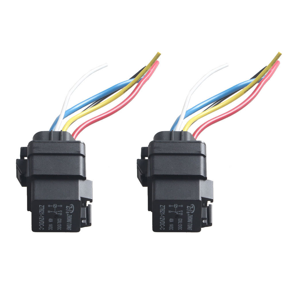 ESUPPORT Car Truck Motor Heavy Duty 12V 40A SPDT Relay Socket Plug 5Pin 5 Wire Waterproof Kit Iron Back