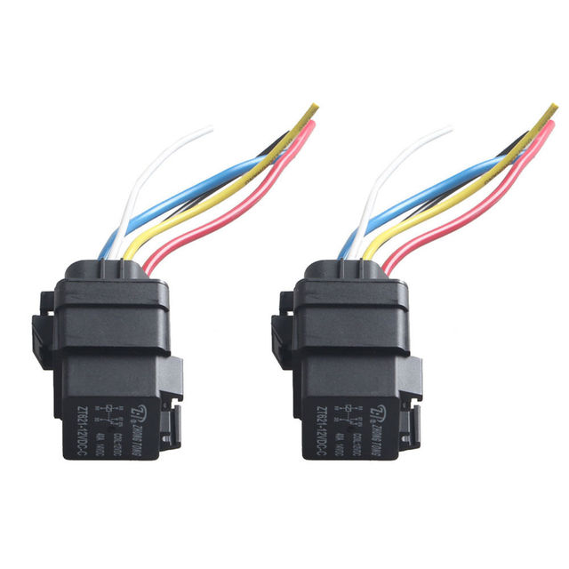 EE support 2Pcs 12V 40A SPDT Relay Socket Plug 5Pin 5 Wire ...