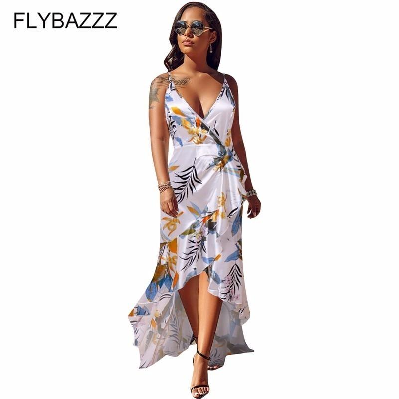 Été 2019 femmes Slik élégant Spaghetti sangle robe à volants irrégulière longue robe Slim femmes plage robe Sexy col en v robe de soirée