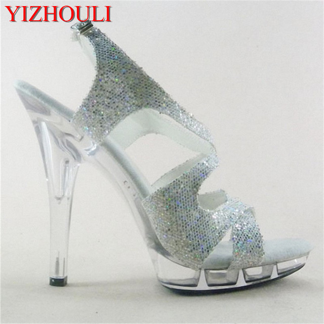 15cm Colorful Sexy High-Heeled Shoes Crystal Sandals Shoes 6 Inch Stiletto  High Heels Clear a4a3744046d4