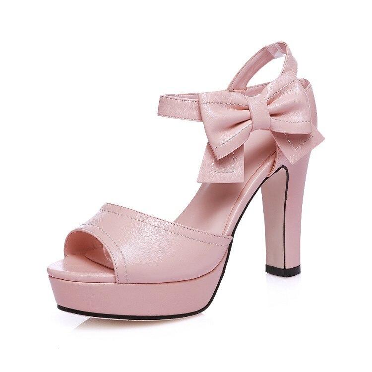 b2a6d15ff Plus size 33 44 Verão Novo Senhora Plataforma de Salto alto Robusto rosa  sandálias de Couro PU Peep Toe com tira No Tornozelo Gladiador Das Mulheres  sapatos ...