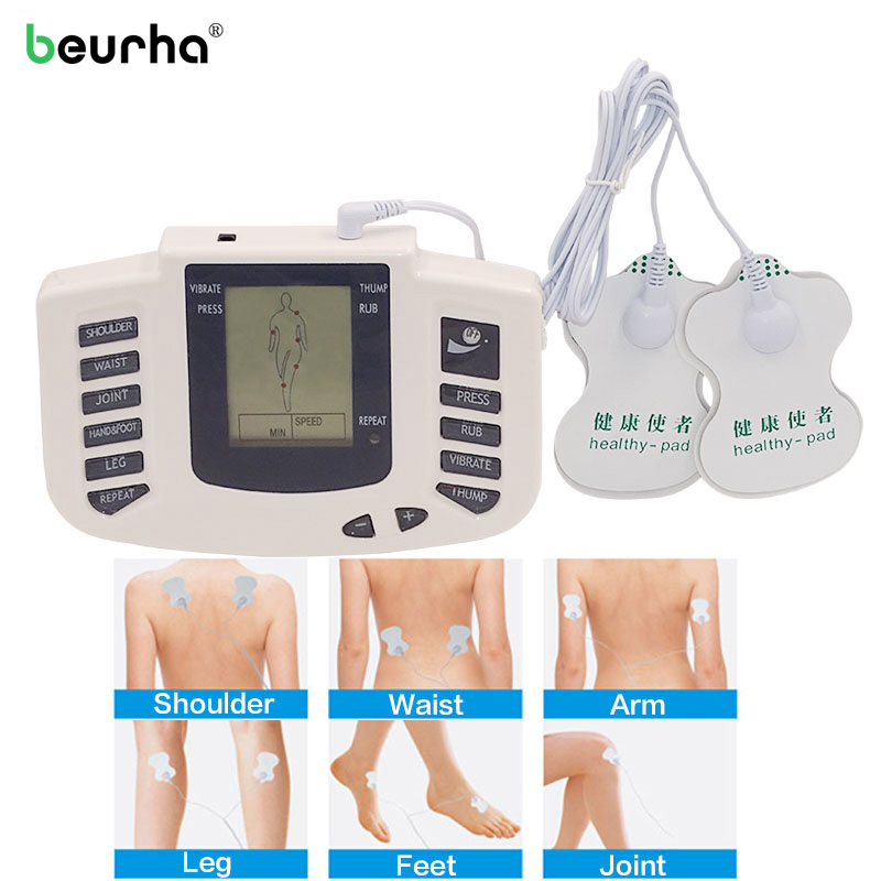 Beurha Russian Button Electrical Muscle Stimulator Massage With 16 Pcs Electrode Pads Digital TENS Therapy Machine Massager 2 pcs electrical digital slimming acupuncture massager relieve muscle pain therapy machine with 4pcs electrode pads for tens