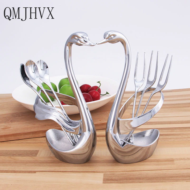 Swan Dinnerware Sets Zinc Alloy Fruit Fork serving spoon set of dishes cutlery tablespoons Forks Dining Set Western Food Restaur