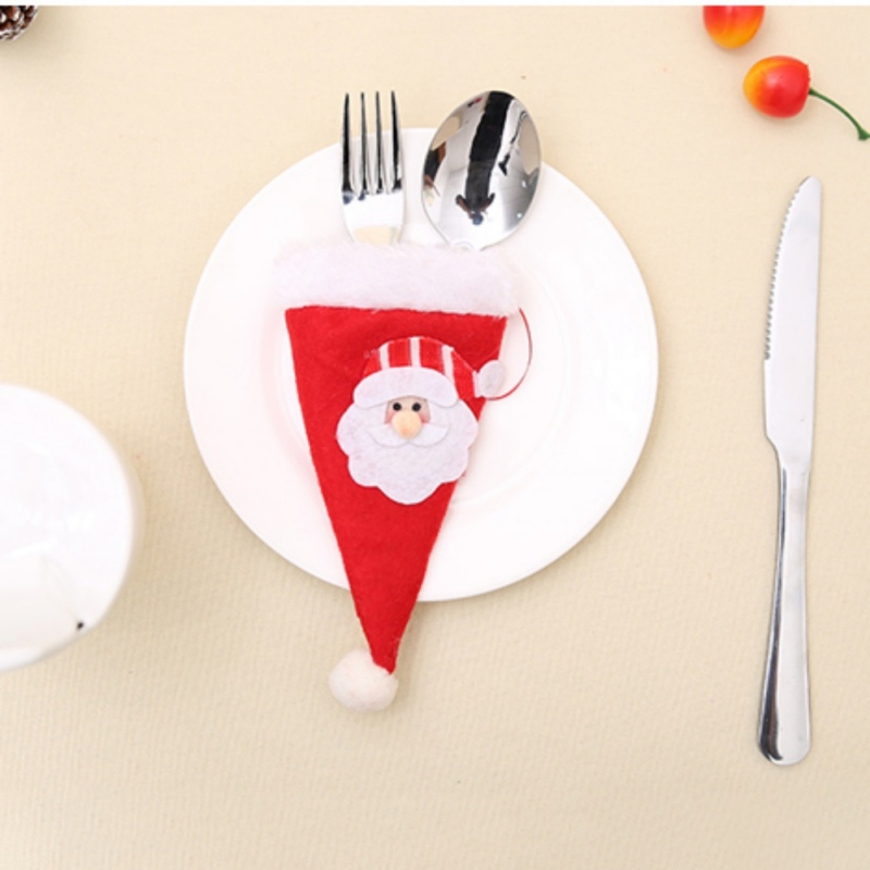 Christmas Style Knife and Forks Small Cap Christmas Decoration Desk Party Supply Decorations Funny Style