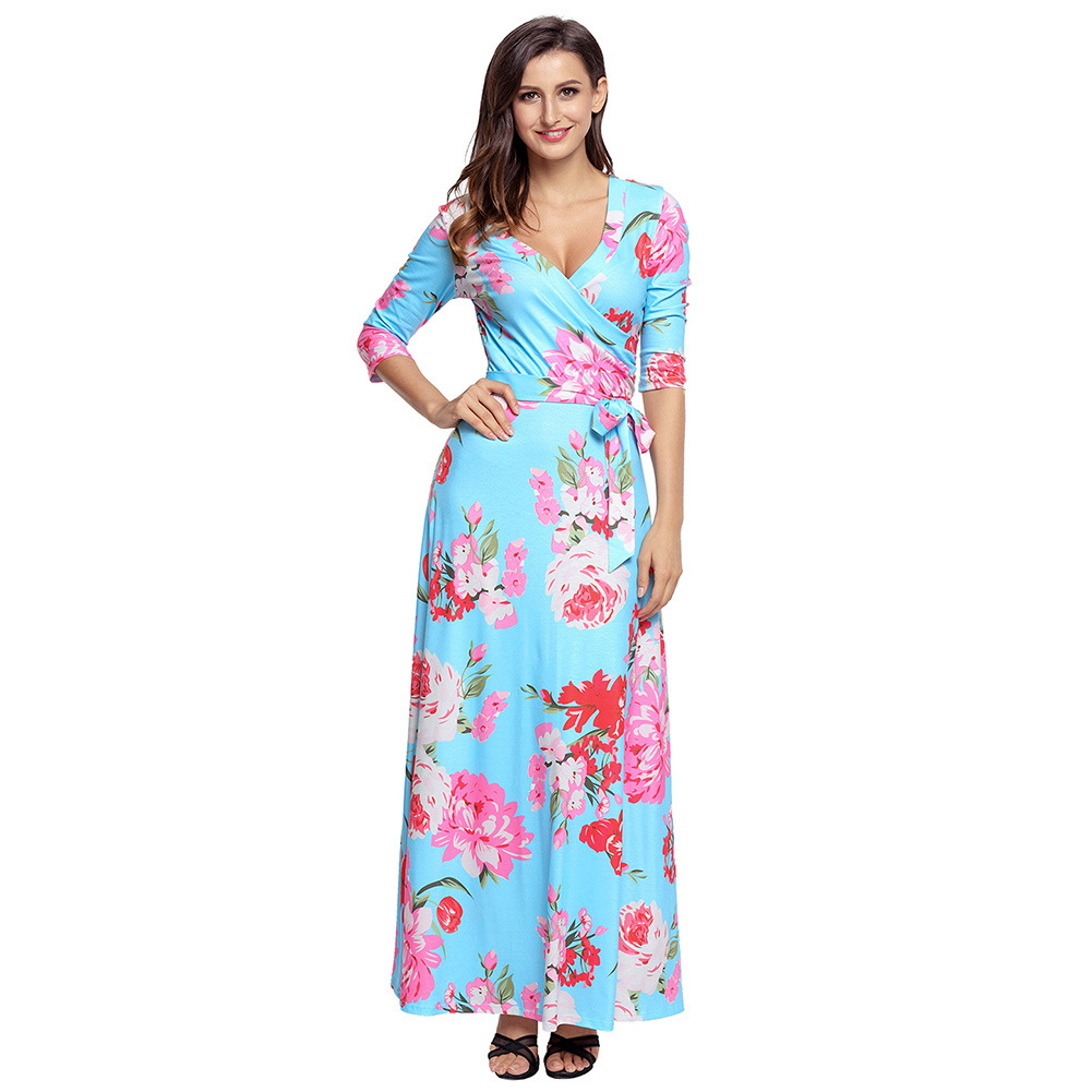 Europe And The United States Women Maternity Dress Printing Flower Ankle-length Cute Maternity Dresses Fashion Pregnancy Dress
