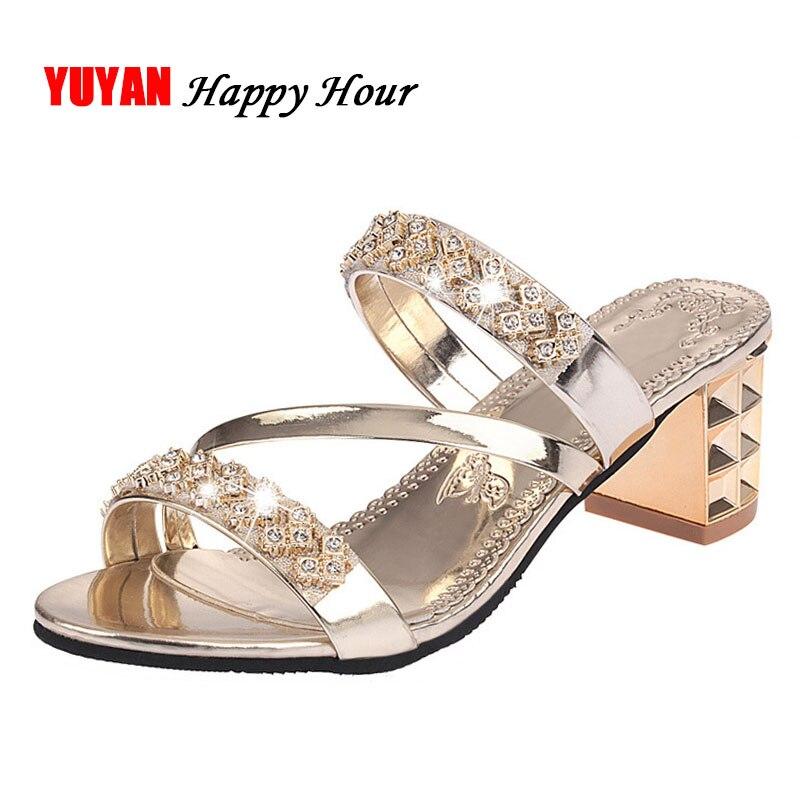 2019 Sommer Frauen Schuhe Squre Ferse Sandalen Peep Toe Damen Schuhe Marke High Heel Sandalen Gold Heels 7 Cm Große Größe Zh2971 Hitze Und Durst Lindern.
