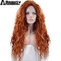 ANOGOL BEAUTY Hair Cap+ Free Part Long Deep Wave Orange High Temperature Fiber Brave Merida Synthetic Cosplay Wig For Halloween