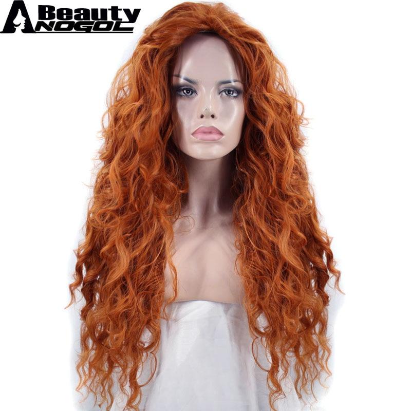 ANOGOL pelo de la belleza de la Cap + parte libre de tiempo de la onda profunda de la naranja de alta temperatura de fibra valiente Mérida sintético Cosplay peluca de Halloween