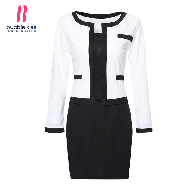 2017 Women Bodycon Dress Office Patchwork Plus size Long Sleeve Formal Work Dress Black White Vintage Midi dresses Vestidos