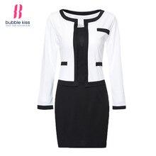 2017 mujeres dress oficina oficina patchwork plus bodycon manga larga work dress negro y blanco vendaje vendimia vestidos bubblekiss