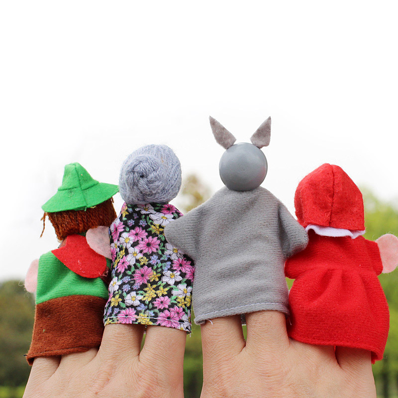 4pcsLot-Kids-Finger-Puppets-Doll-Plush-Toys-Cute-Little-Red-Riding-Hood-Wooden-Headed-Fairy-Tale-Story-Telling-Hand-Puppets-2
