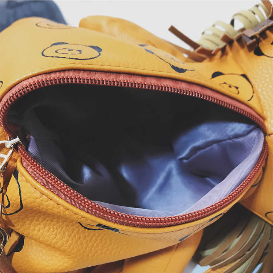 Корейский Забавный Милый Лев с бахромой Мини искусственная кожа женский рюкзак девочка кукла мультфильм дорожная сумка животное Студенческая сумка на плечо Mochila