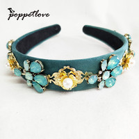 New Gold Rose green Crystal Leaf Headband Hairband For Women Rhinestone Crown Tiara Show Engagement Hair Accessories