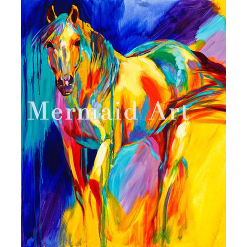 Hand Painted art Oil Paintings Animal abstract art color horse Oil Painting On Canvas For Living room Artwork Home Decoration