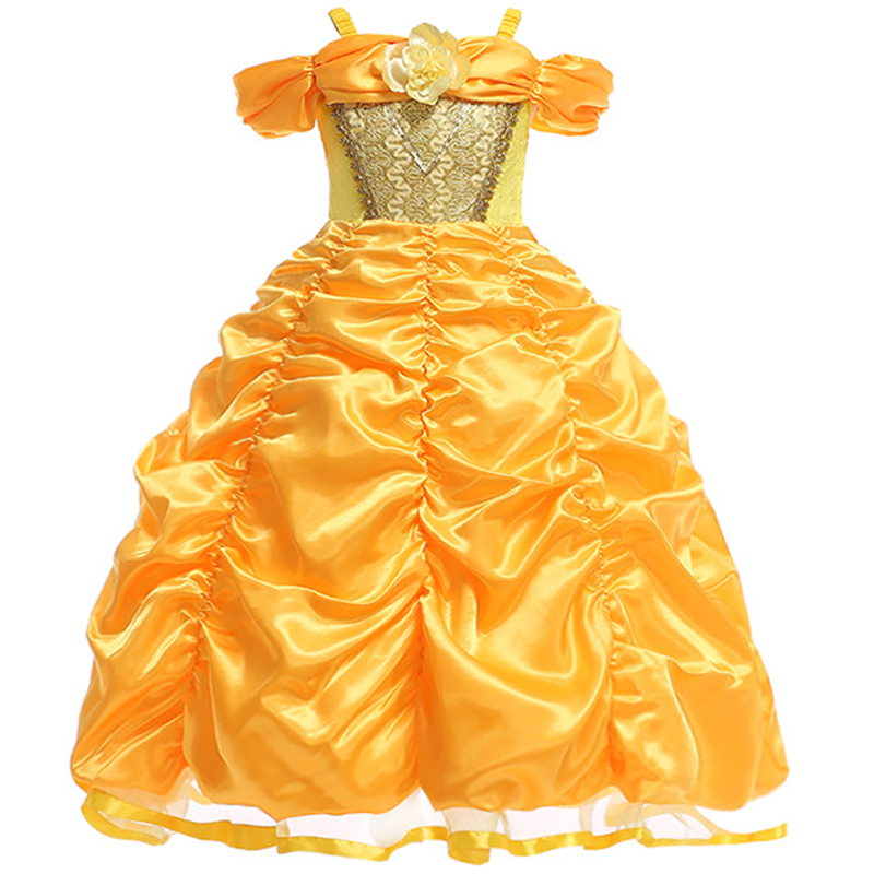 Beauty And The Beast Princess Belle Princess Cosplay Costume Halloween Costume Princess Belle Costume Yellow Long dress girls glittery girls tutu dress elsa belle princess dress girls party dresses pageant gowns baby kids cos beauty and the beast costume
