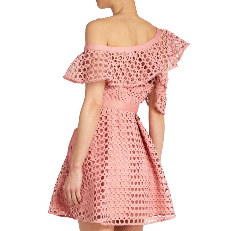 Cou Sexy Dames De Soirée Nouveau Printemps X256 Évider 2019 Off Mini Épaule Rose Dressruffles Femmes Robe Femme Manches Slash Xw4XO6q