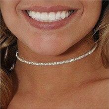2017 Simple Fashion New Elegant Dazzling CZ Diamonds Choker Necklace Luxury Tennis Chain Necklace For Women Jewelry Gift