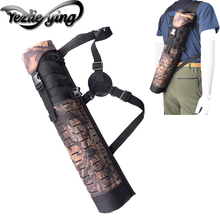 Crossbow Hunting 59CM Oxford Cloth Archery Shoulder/Waist Style Archery Arrow Bags Cylindrical Black/Camouflage Hunting Quiver 45 8 5cm arrow quiver oxford cloth arrow bag 2 point single shoulder for archery hunting shooting archery