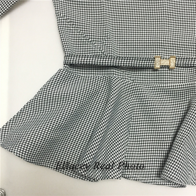 New 19 Spring Autumn Fashion Women's Business Pants Suits Houndstooth Checker Pattern Ruffles Suits For Women 2 Pieces Set 14