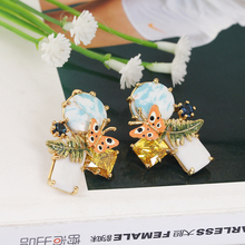 Butterfly Leaf Earring Woman Prevent Allergy Gold Stud Earrings Decorate Jewelry Women Gift Boucle Doreille Femme 2017 earings