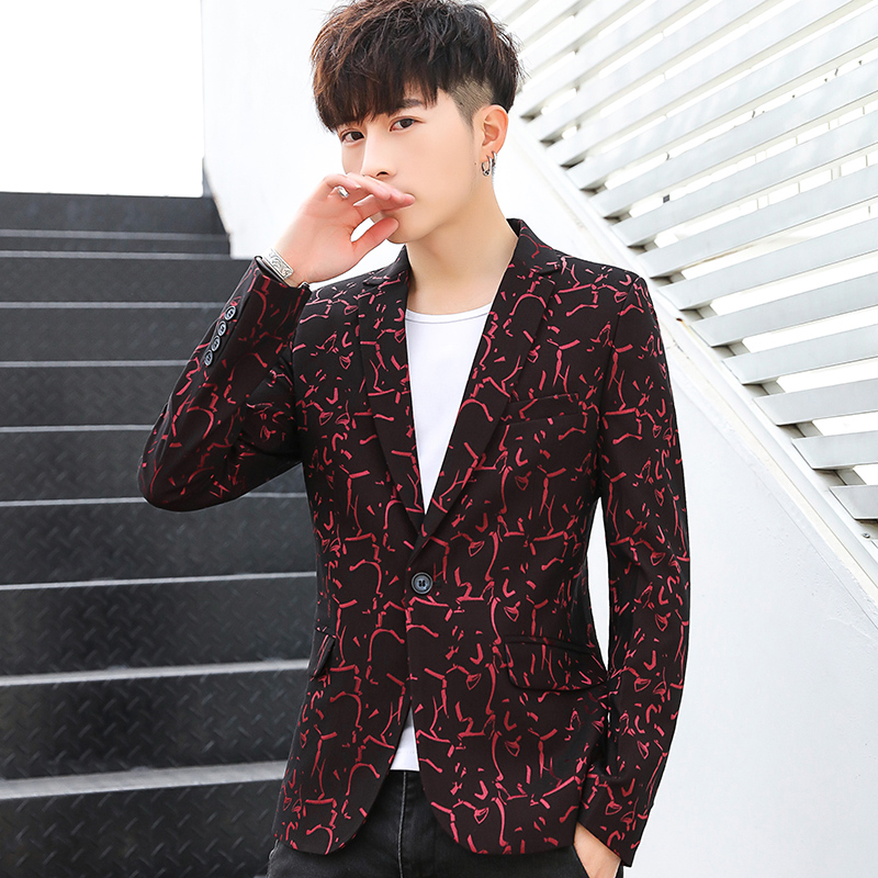 BOO Spring Of 2020 Printed Blazer Young Men's Fashion Leisure Trend Of Cultivate One's Morality Type Blazer