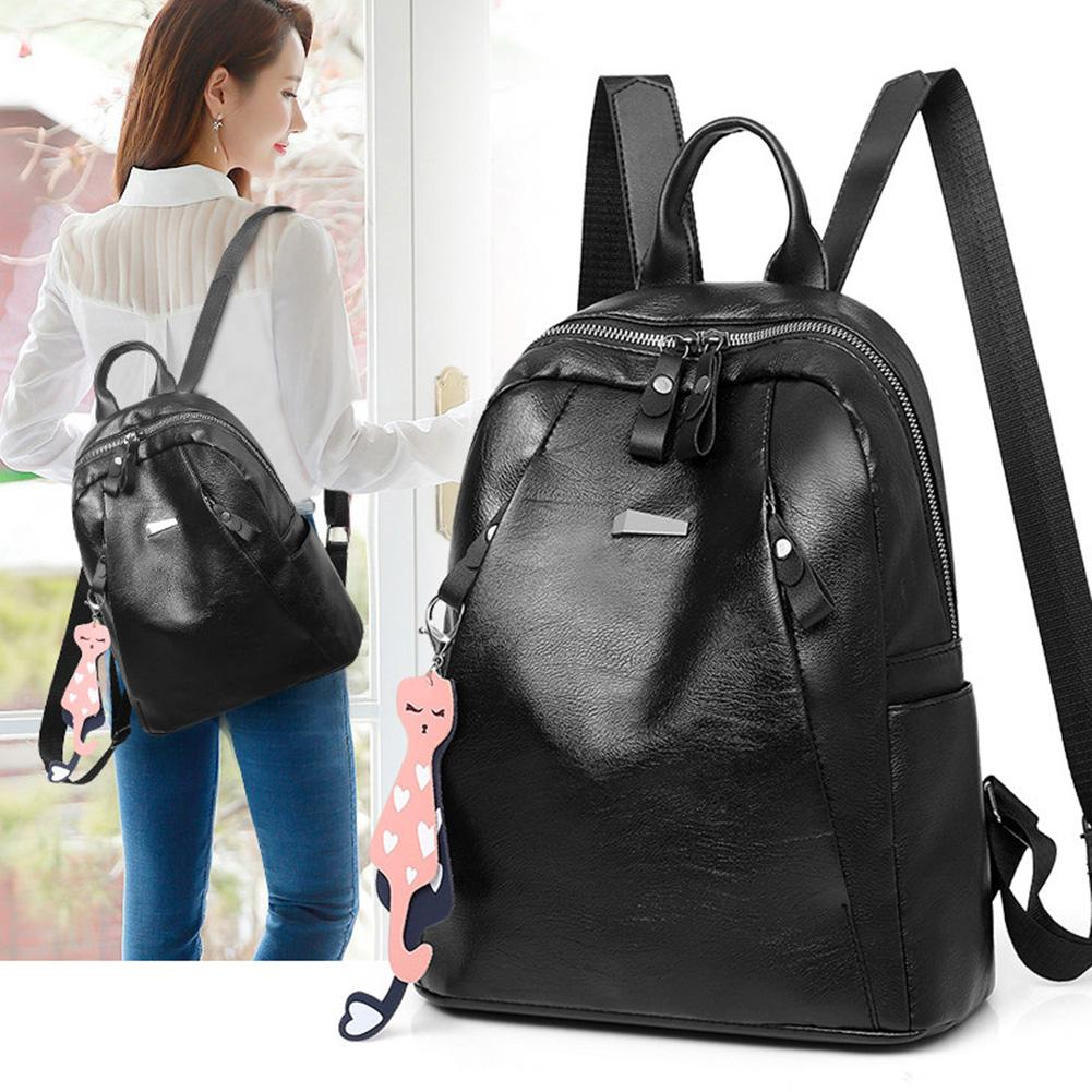 Women Zipper Faux Leather Backpack Large Capacity Student College School Bag Women Zipper Faux Leather Backpack Large Capacity Student College School Bag