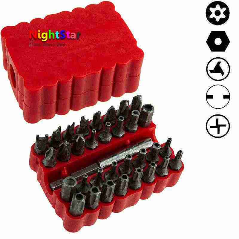 33Pcs Screwdriver Tamper Proof Security Bits Set with Magnetic Extension Bit Holder Torx Hex Star Spanner woodworking Tools